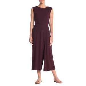 Eileen Fisher Maroon Red Bateau Neck Jumpsuit